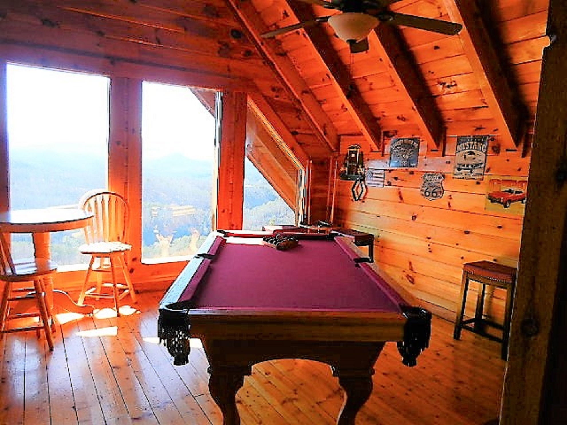 Peaks pool table and seating
