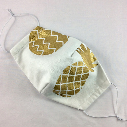Face mask - Cotton with gold pineapple print (medium)