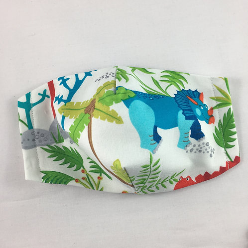 Fabric face mask - small - Triceratops