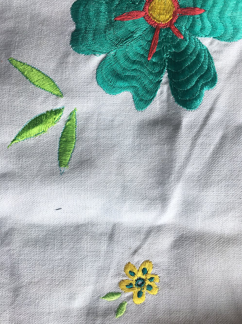 Embroidered fabric face mask (large flower)