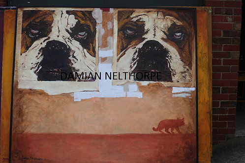 Bulldogs and Fox - Approx 6x8 ft Mixed Media - Damian Nelthorpe