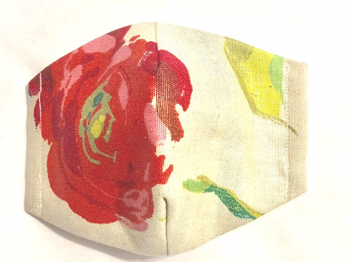 Face mask cotton linen watercolour pink rose