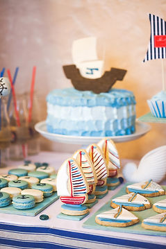 children's boat birthday party dessert table catering