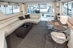 Seating area inside yacht