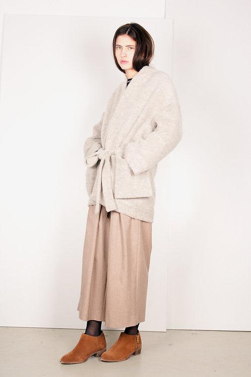18.2 pocket jacket in fuzzy cream knit
