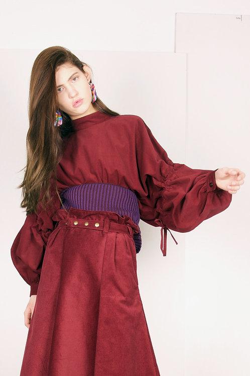 9.2 crimple sleeves blouse in wine corduroy