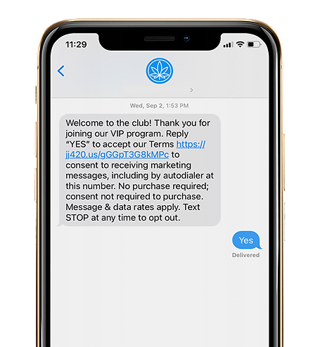 Phone with loyalty program text message
