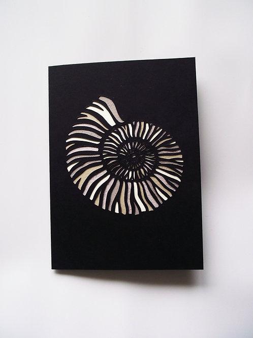 A6 Hand Cut Ammonite Fossil Greetings Card
