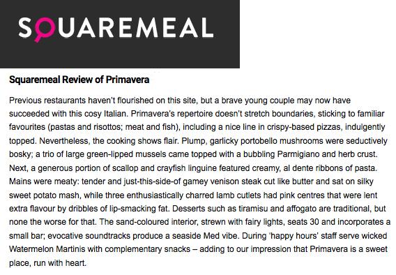 Squaremeal review - Primavera Fulham