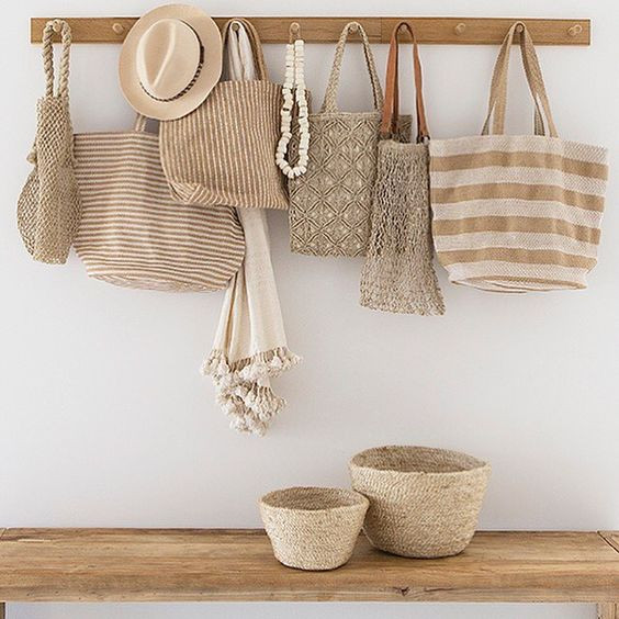 Styling tips neutral bags and woven and plates baskets on wall