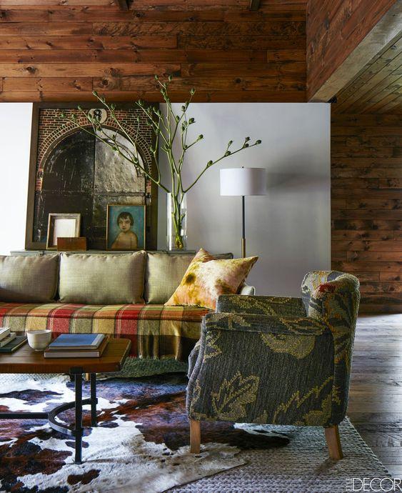 stripe blanket on sofa living room design