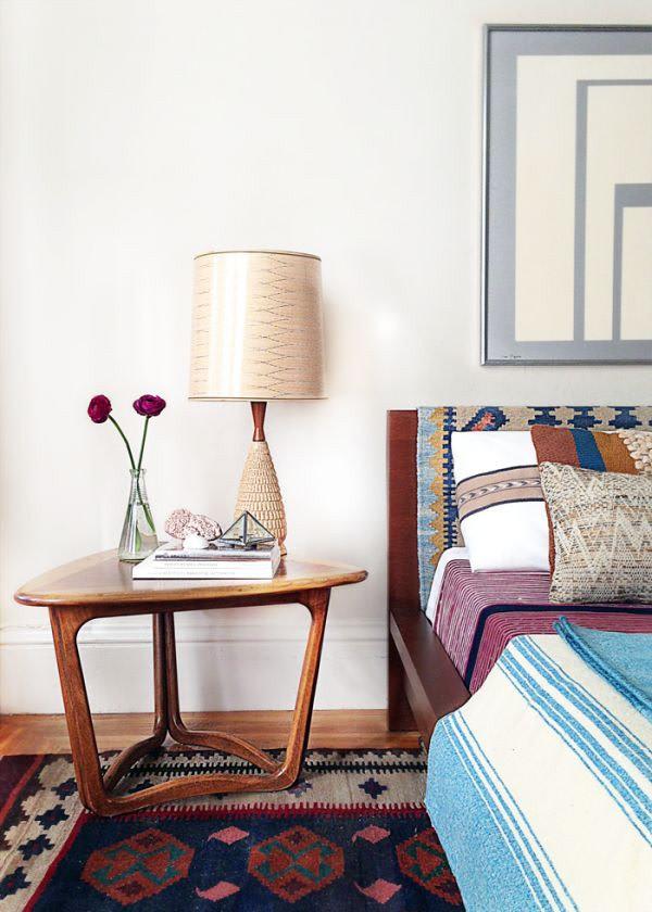 Mid Century interior design rug on headboard bohemian interior design