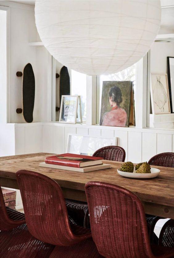 oversized noguchi paper lantern dining room