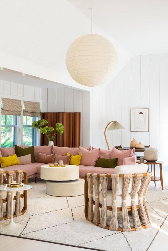 Living room beachy living room design pink sofa