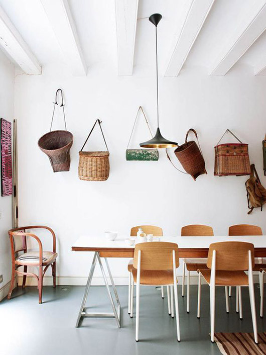 Styling tips dining room vintage bags hung on wall