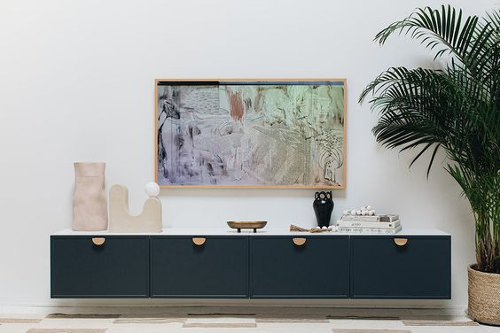 Media console styling, tv console styling, Sarah Sherman Samuel, Frame TV, Semihandmade Cabinets