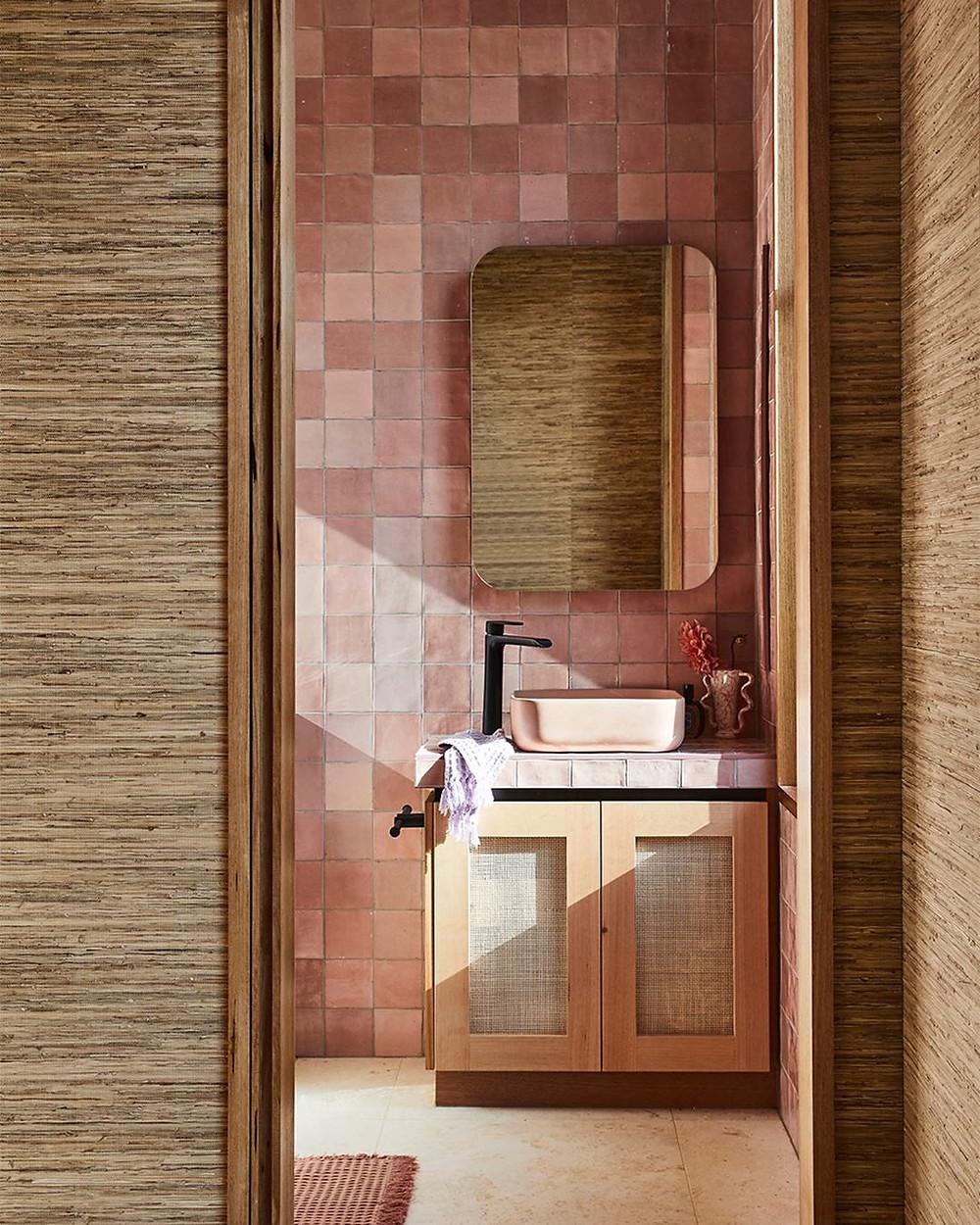 Checkerboard tile bathroom, zellige tile bathroom, terracotta tile bathroom, rattan vanity, grasscloth