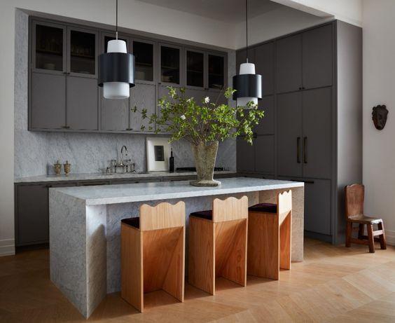 Giancarlo Valle Studio kitchen design, slate kitchen, marble kitchen, curvy bar stools, herringbone floors