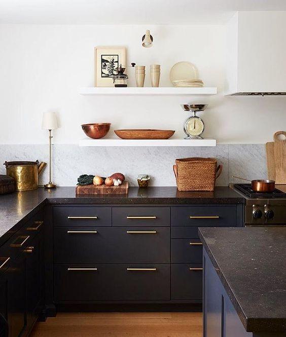 Kitchen styling navy kitchen cabinets open shelving