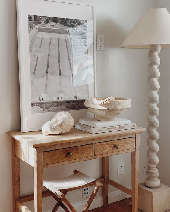 Console table styling beach house bohemian interior design vintage french console