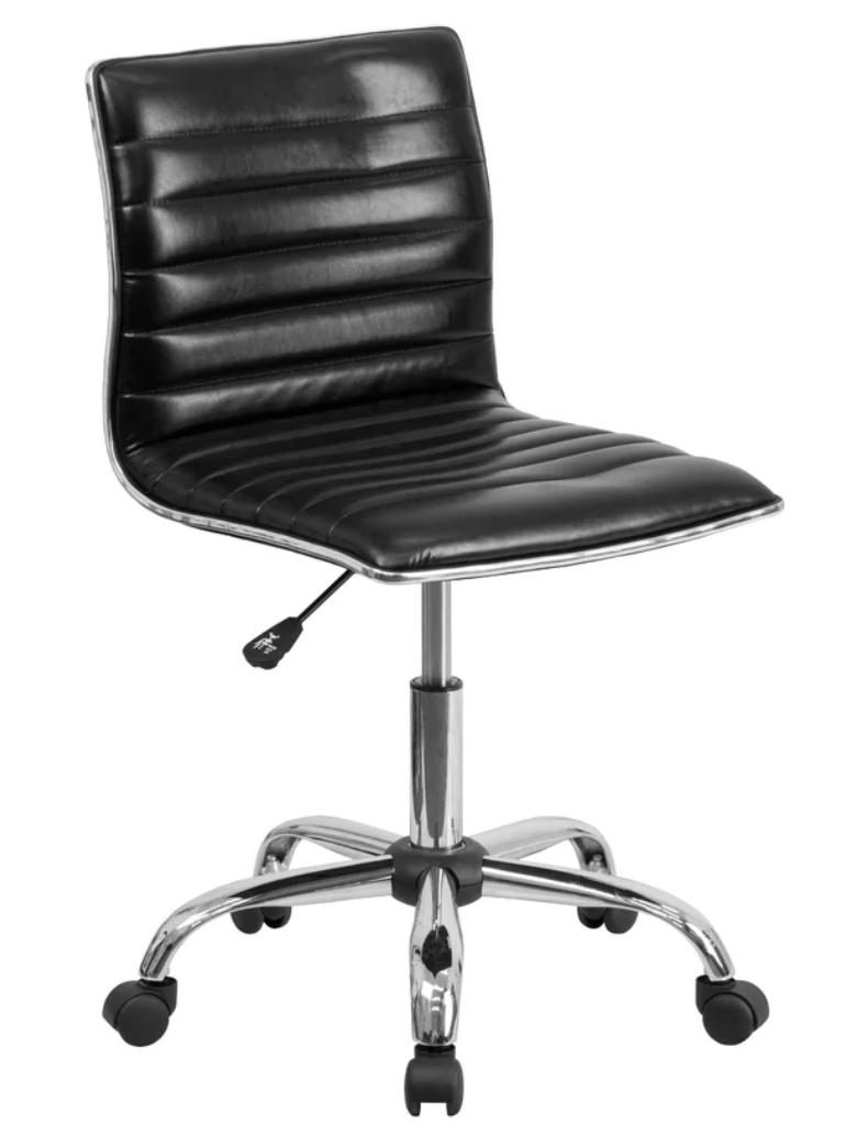 Black leather swivel desk chair