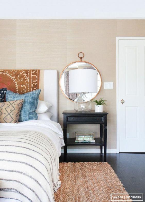 Amber Interiors bedroom textile on headboard bohemian bedroom