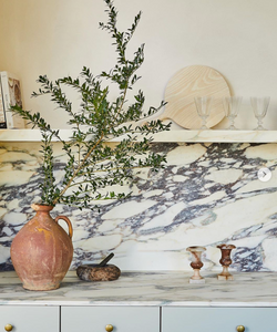 Kitchen styling tips Eyeswoon Athena Calderone vintage pottery vase