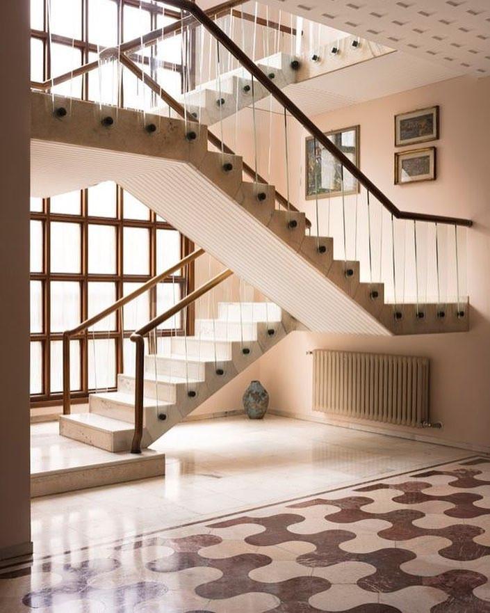 Osvaldo Borsani home, modern architecture, modern staircase, retro tile, curvy tile, italian interior design