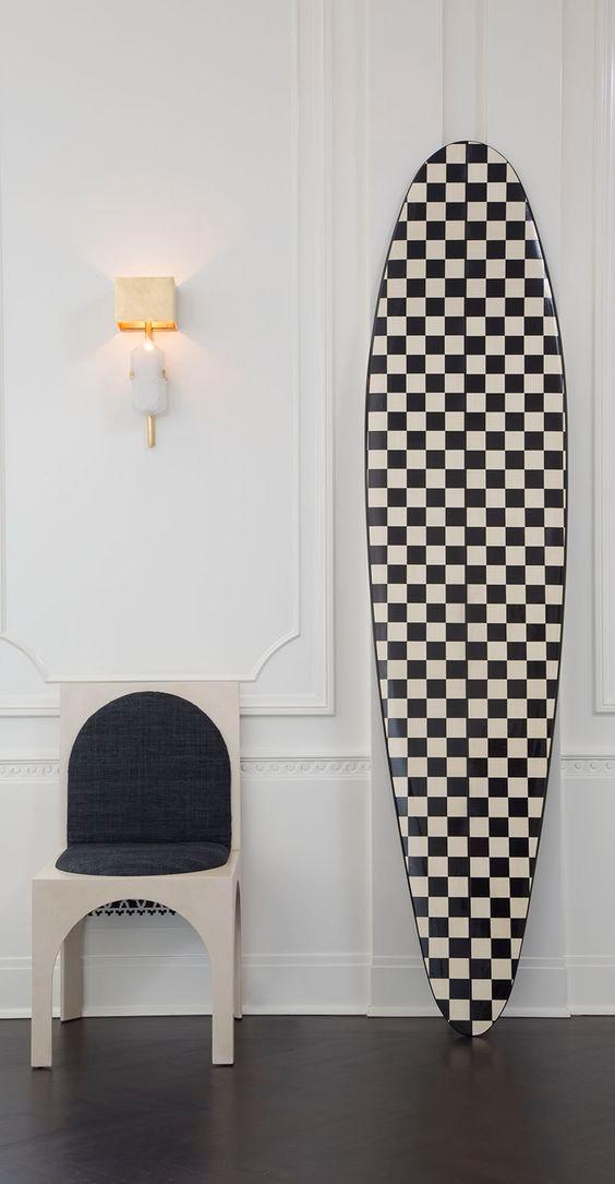 Checkerboard surf board Kelly Wearstler