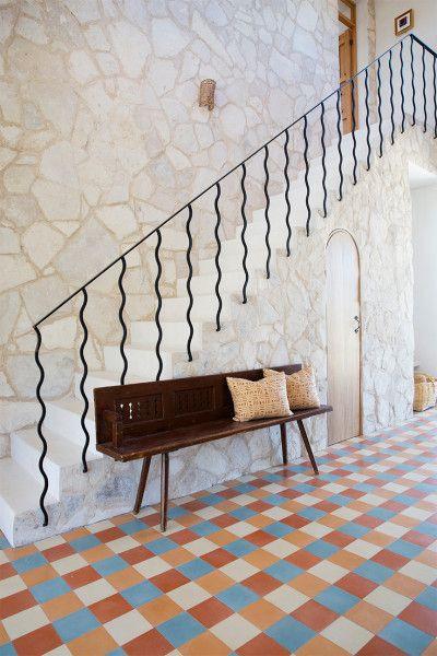 Alex Boudreau home, checkerboard tile flooring, Todos Santos home