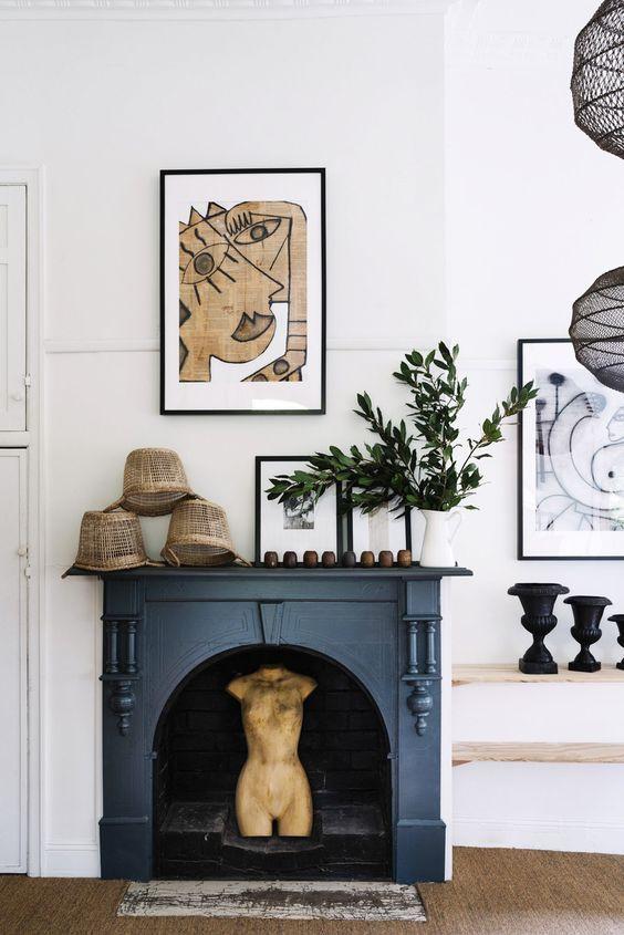 Fireplace styling dark navy fireplace