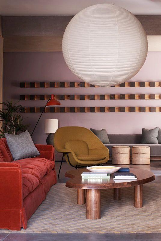 oversized noguchi akari paper lantern living room