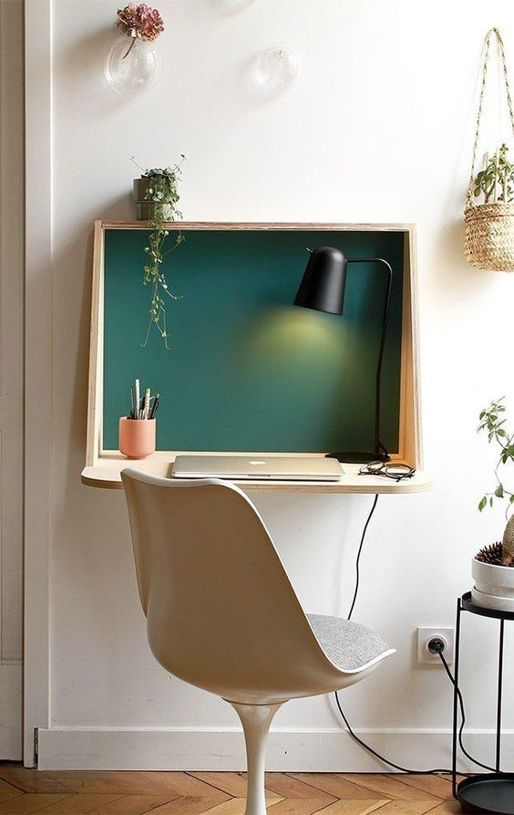 Small space home office wall mounted desk