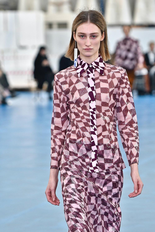 Checkerboard print trend fashion runway