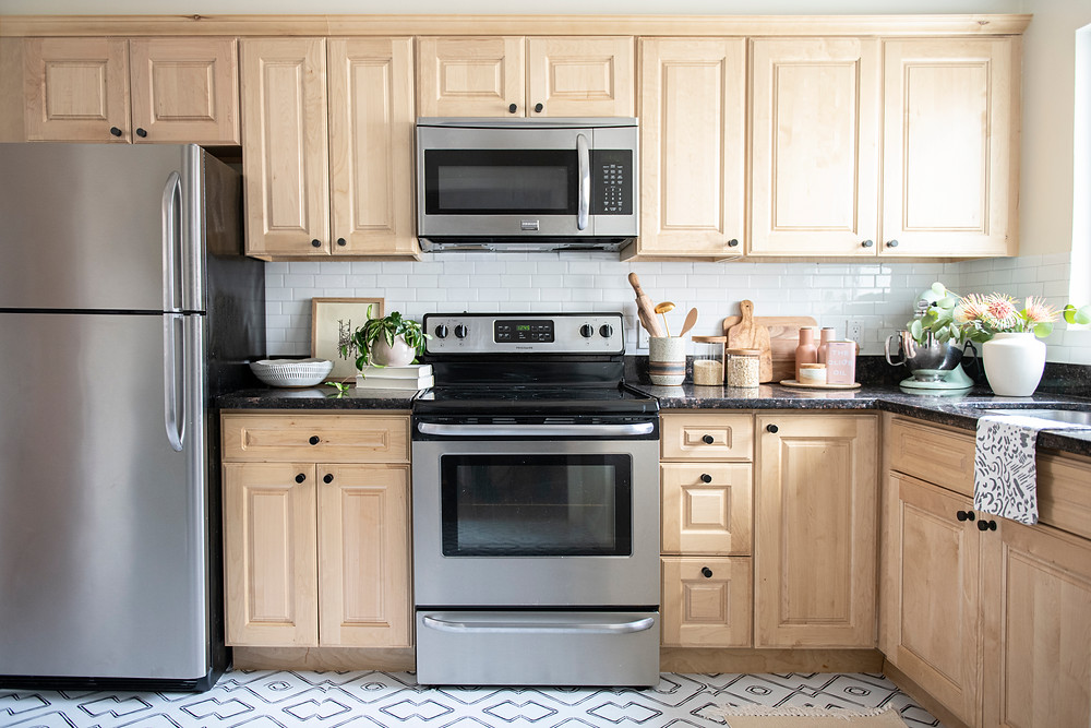 Bohemian modern renter friendly kitchen refresh by Christina Higham Sun Soul Style Interiors. Vinyl floor tile stickers, Quadrostyle, modern kitchen reno, kitchen design ideas