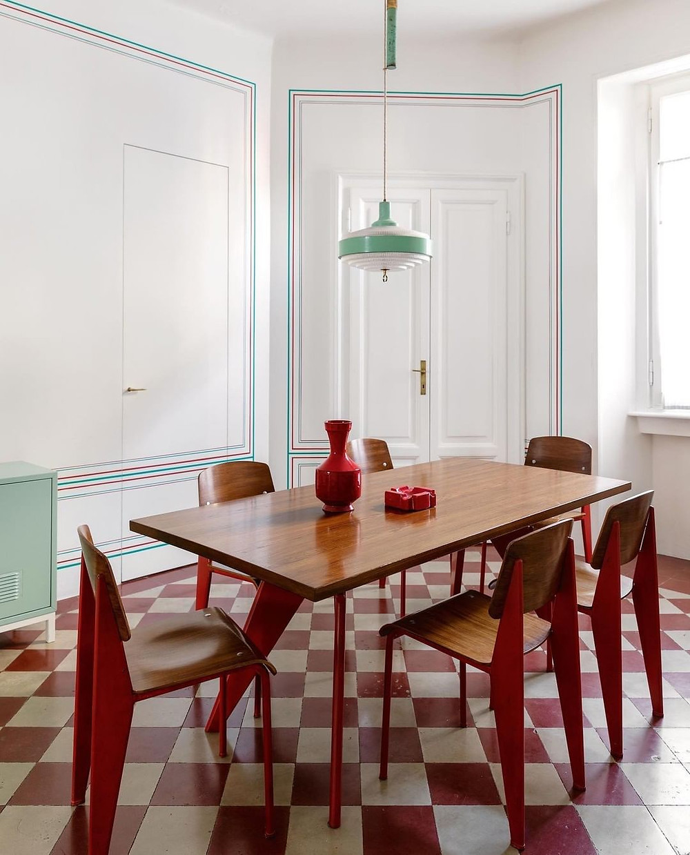Checkerboard print tile, red and white tile, mid century dining room