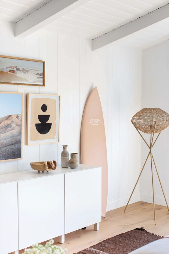 How to style a media console, tv console styling, frame tv, gallery wall around tv, gallery wall, beachy surf shack