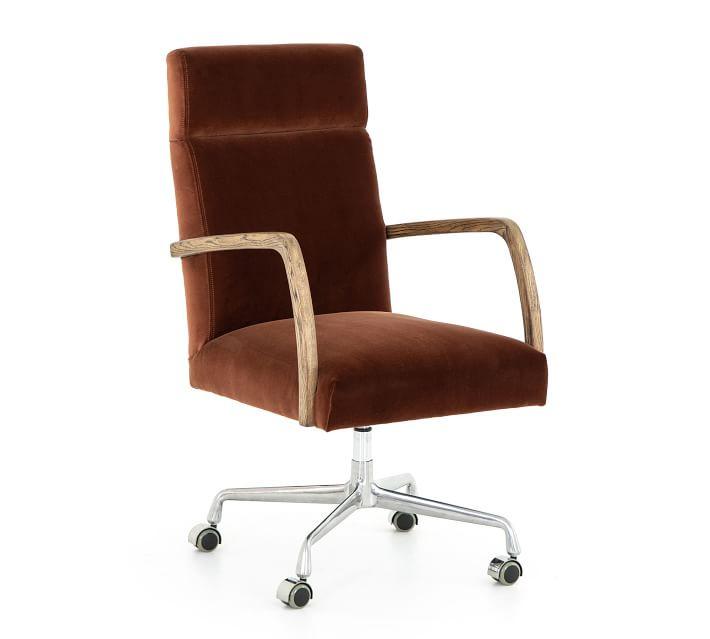 Rust Swivel Velvet Desk Chair