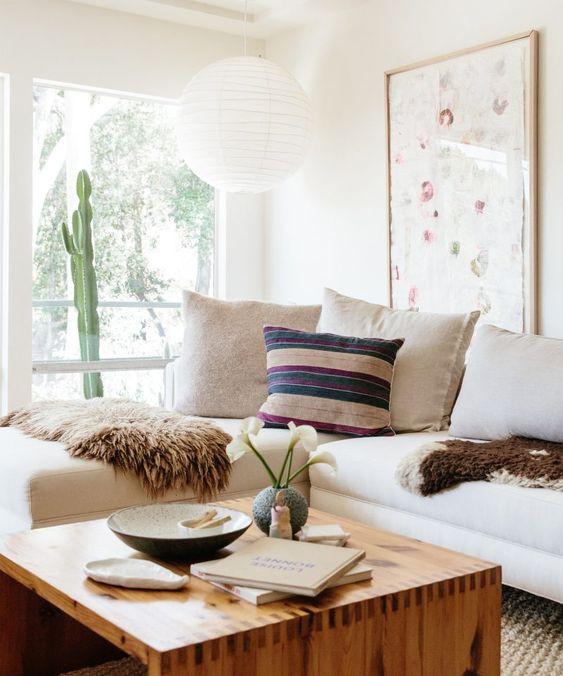 Bohemian modern living room design desert modern kilim pillow cactus