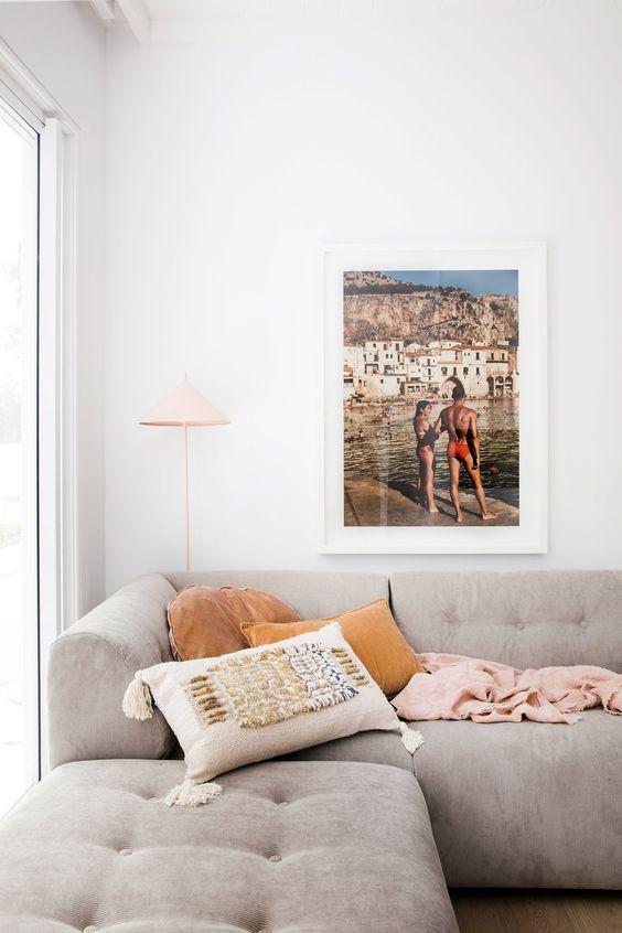 Bohemian modern beach house living room design