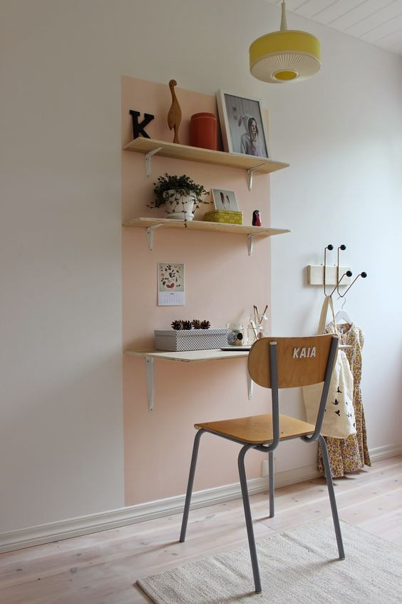 Small space home office design wall mounted shelves desk