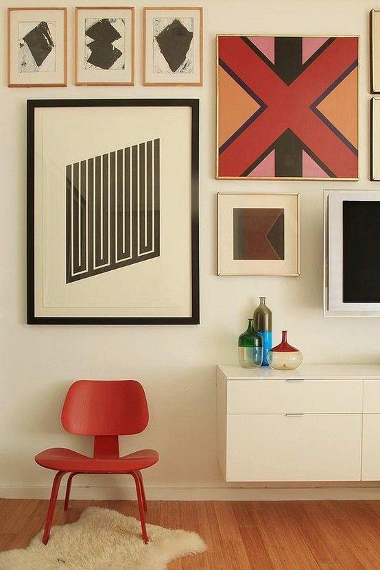 Colorful gallery wall mid century design
