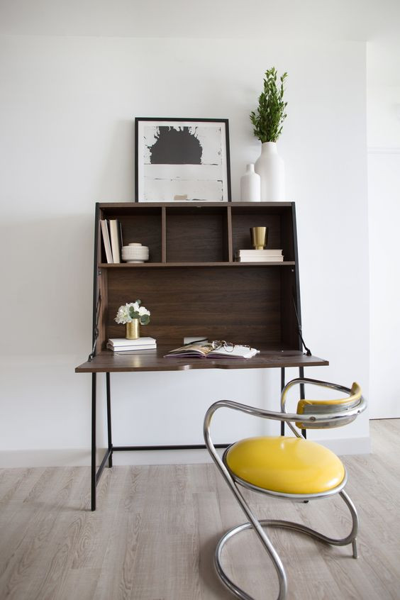 Mid Century modern small space home office design by Christina Higham Sun Soul Style Interiors