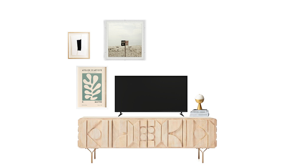 how to style a tv console, how to style a media console, gallery wall
