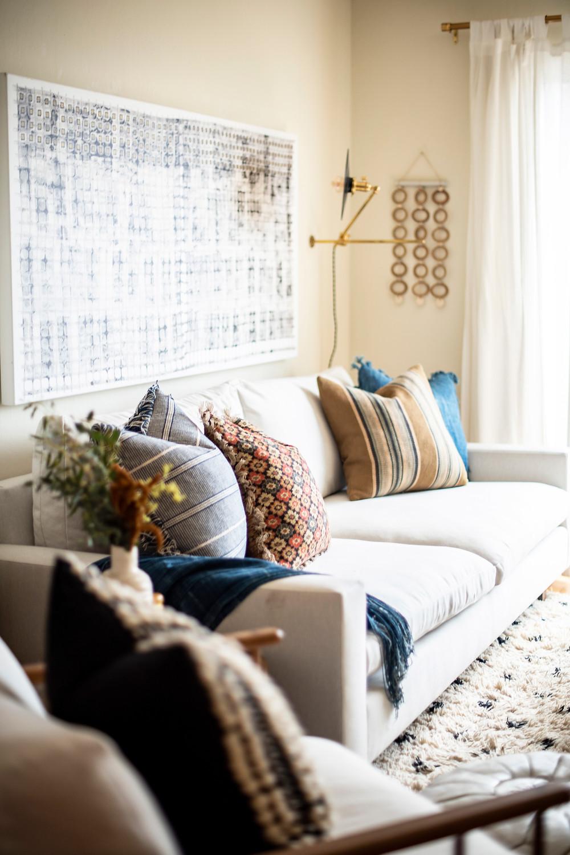 Bohemian living room design by Christina Higham Sun Soul Style Interiors