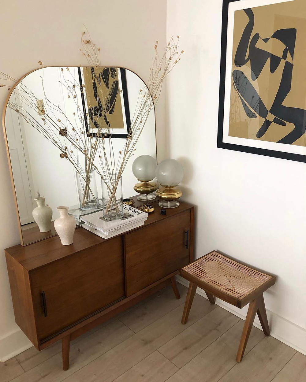 Styling tips mid century console styling branches in vase modern art