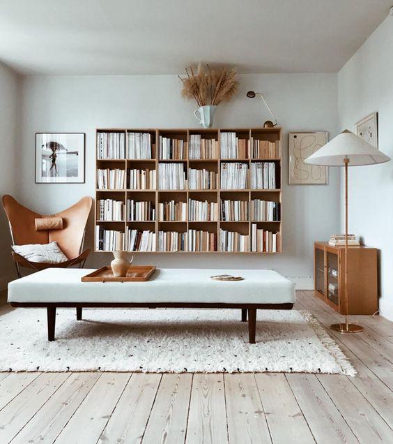 Scandinavian interior neutral interior design bookshelf styling shelfie