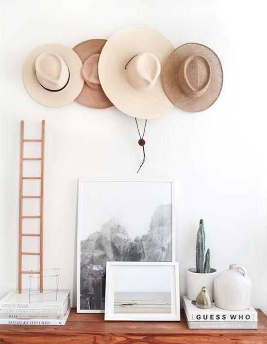 Hats on wall dresser styling tips bohemian interiors desert modern
