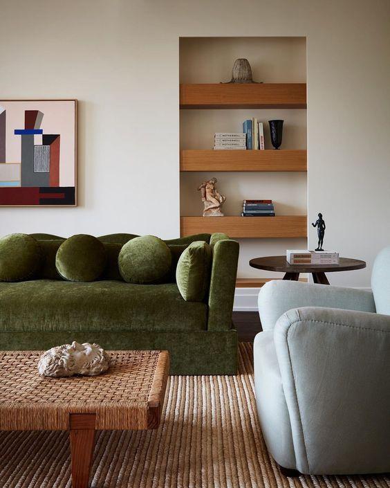 giancarlo valley studio, living room, green velvet sofa, curvy sofa frame