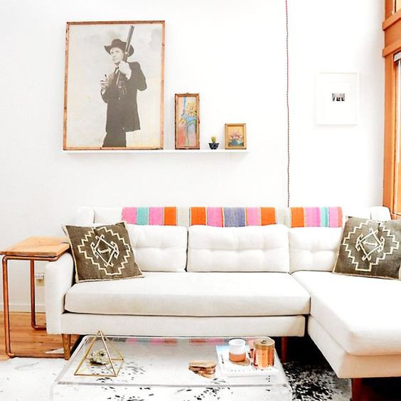 textile kilim frazada on sofa mid century living room bohemian living room desert modern